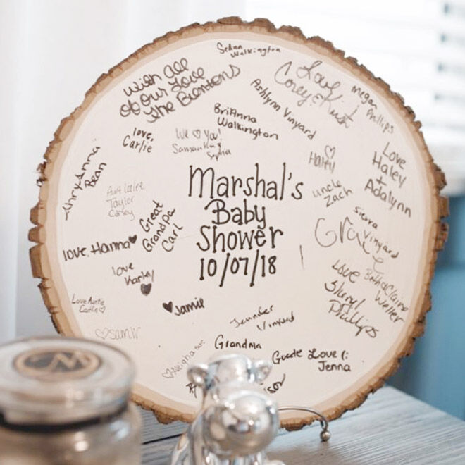 Woodland baby shower guest book idea