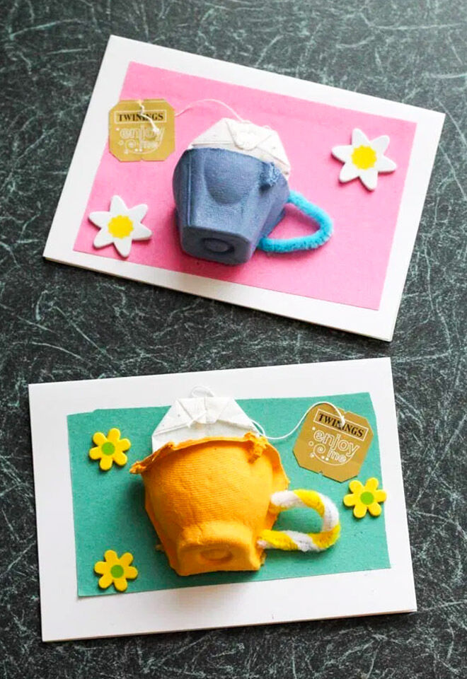 Egg carton tea cup card