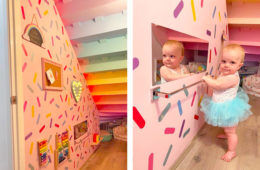 Toddler playroom hidden under stairs