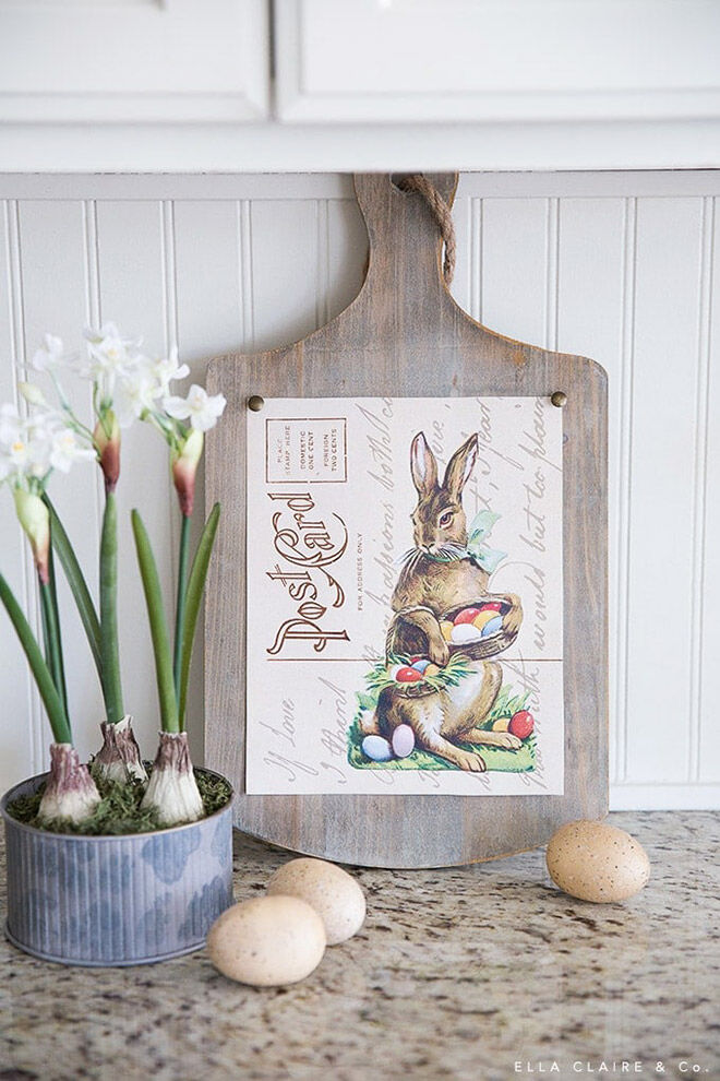 Printable Easter Bunny Postcard Art from Ella Claire & Co