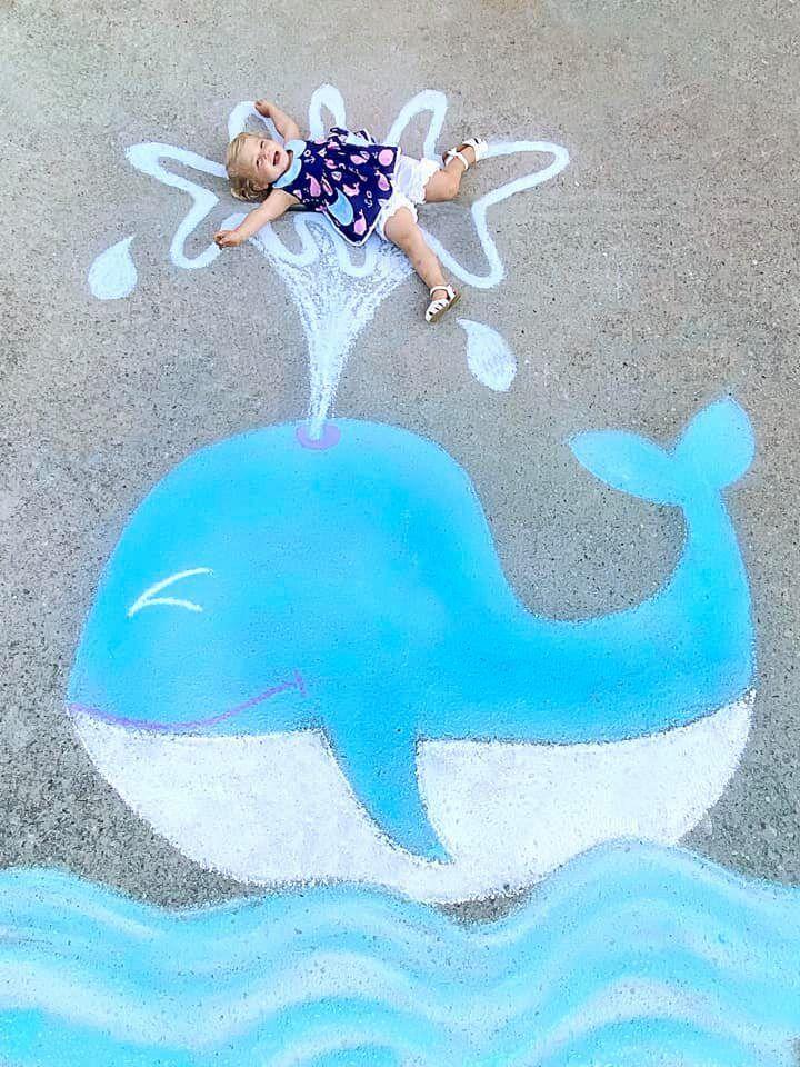 Abbey Burns Tucker side walk chalk art Whale
