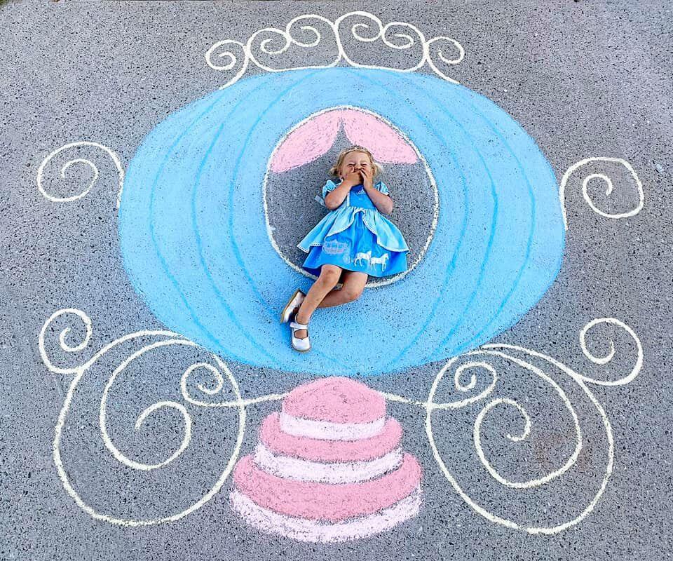 Abbey Burns Tucker side walk chalk art pumpkin carriage