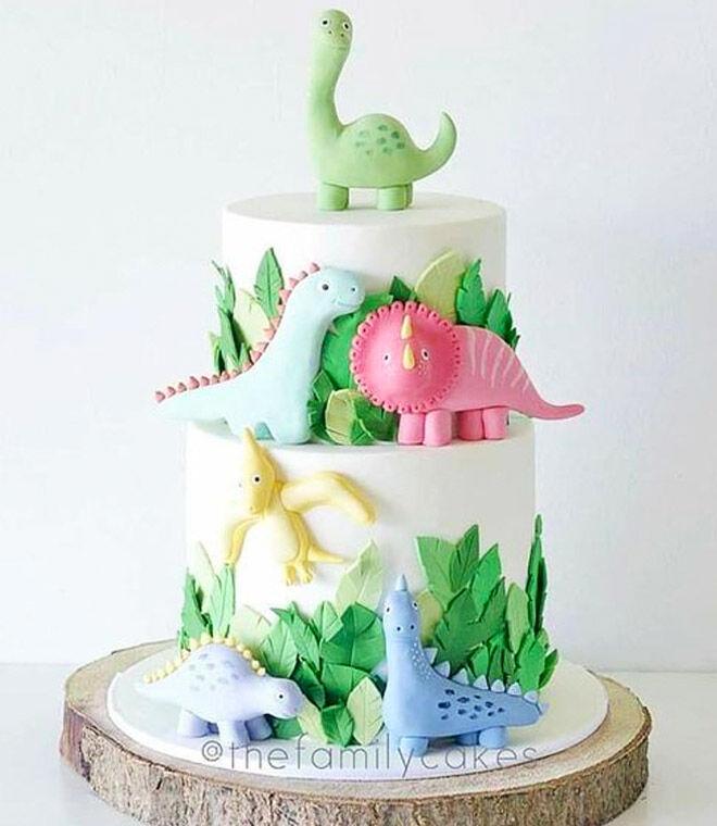 Tiered 3D dinosaur cake