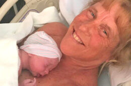 Barbara Higgins gives birth at 57
