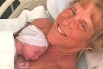 Barbara Higgins gives birth at 57