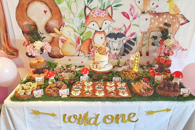 First birthday party theme Woodland Wild One
